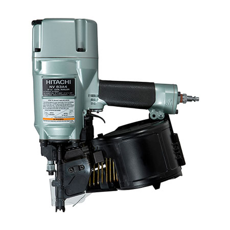 """Tough framing applications are a breeze when you've got the Hitachi 3-1/4"""" Coil Framing Nailer (NV83A4). It's impressively versatile: with a simple flip of a switch, its selective actuation switch allows for either sequential or contact nailing."""